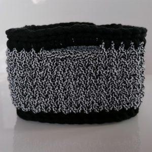 """Kwadratowy koszyk ze sznurka """"Black&White 1"""" mini"""
