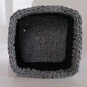 """Kwadratowy koszyk ze sznurka """"Black&White 2"""" mini"""